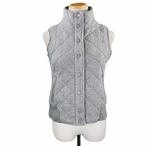 Aeropostale Light Gray Quilted Snap Button Vest